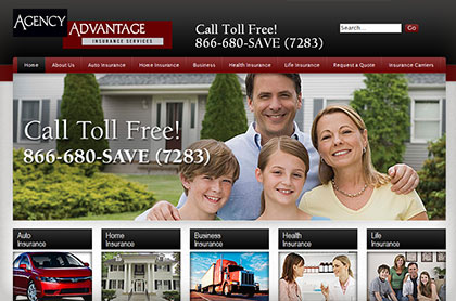 Screenshot of Agency Advantage Insurance website.