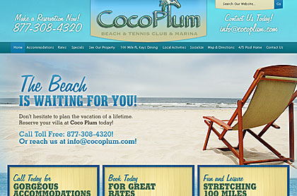 Screenshot of Coco Plum Beach and Tennis Club and Marina website.