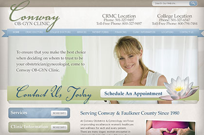 Screenshot of Conway OB/GYN website.
