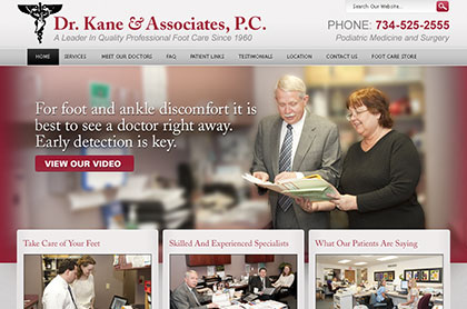 Screenshot of Dr. Kane and Associates, P.C. website.