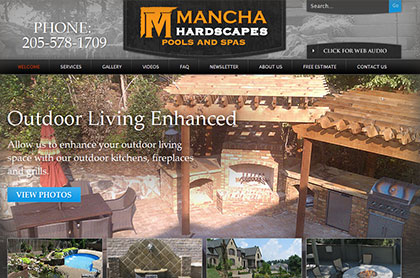 Screenshot of Mancha Hardscapes, LLC website.