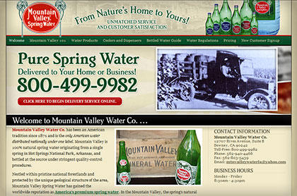 Screenshot of Mountain Valley Water Co. website.