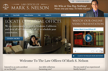 Screenshot of The Law Offices Of Mark S. Nelson website.