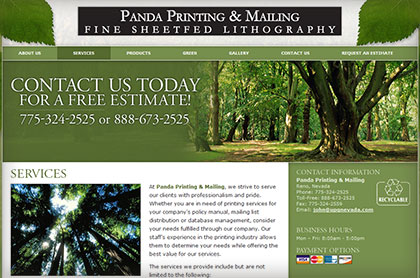 Screenshot of Panda Printing and Mailing website.
