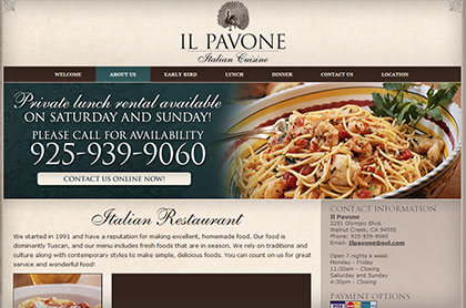 Screenshot of Il Pavone website.