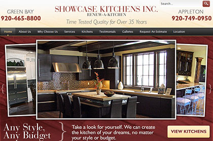 Screenshot of Showcase Kitchens Inc. website.